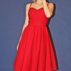 Stop Staring! Summer Time Swing Dress Red Medium